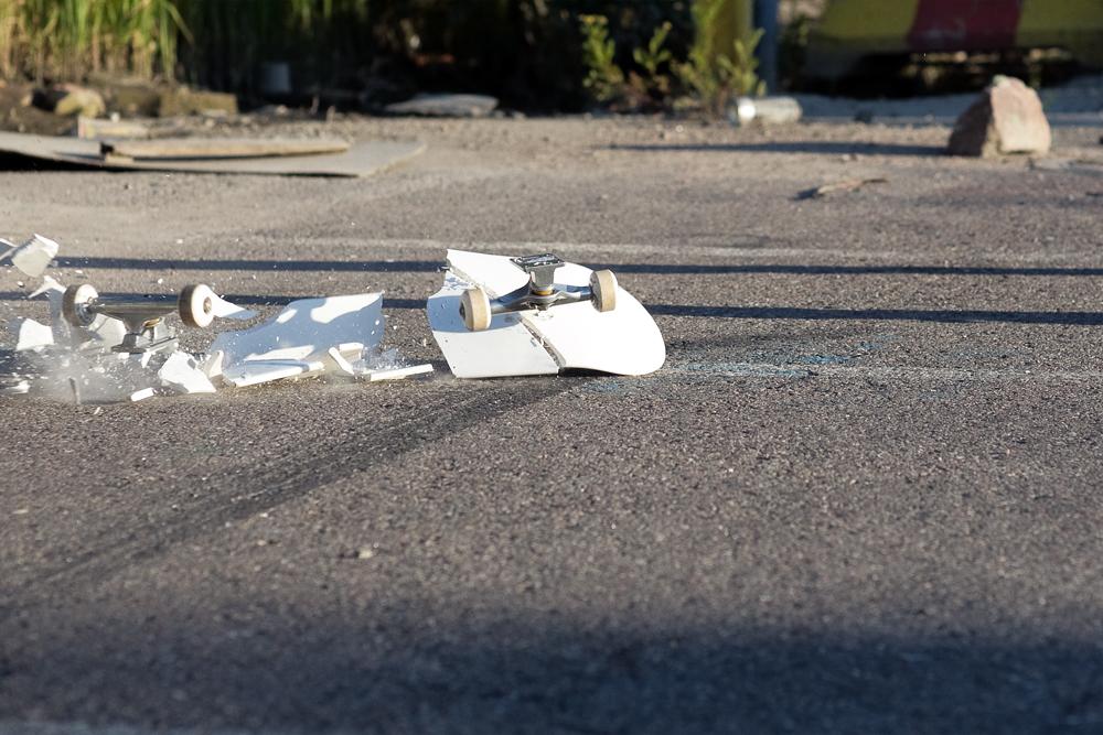 A broken skate deck