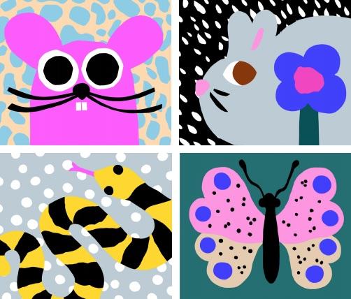 Lasten Designviikon värikkään ilmeen on suunnitellut graafinen suunnittelija Leena Kisonen.
