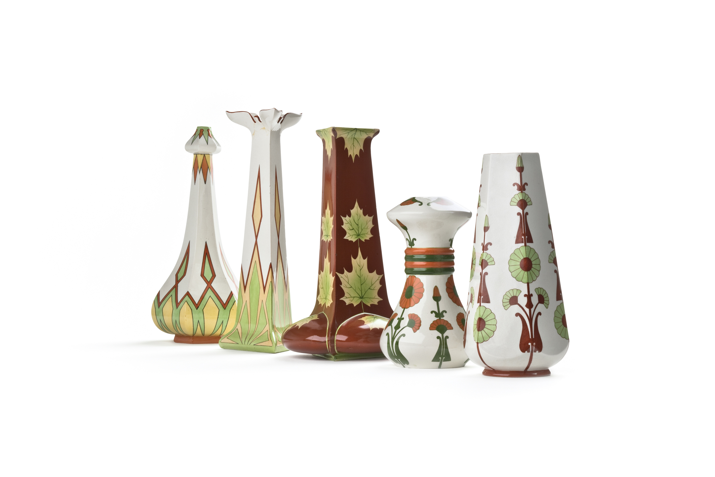 Arabia vases with Fennia and Kaleva decoration